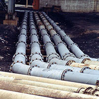 Installed in 1973, ABRESIST® pipe from Unit 2 ties in with new routing from Unit 1 laid in 1992.